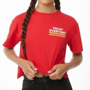 Red cropped vacay everyday graphic tee
